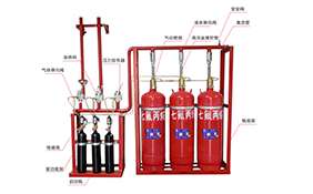 Pipe network type heptafluoropropane fire extinguishing device